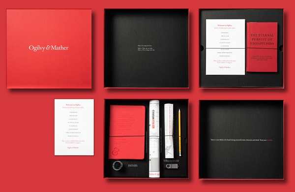 red and black box of material for Olgivy Mather